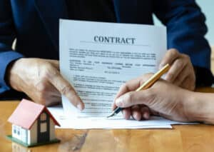 Signing a home purchase contract