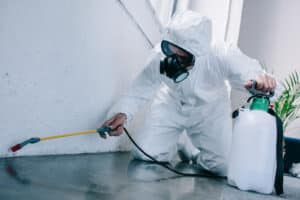 pest control worker spraying in rental property